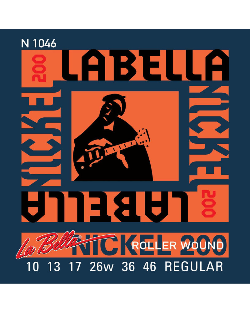 La Bella N1046 Nickel 200 Roller Wound Series Regular Gauge 6-String Electric Guitar Strings