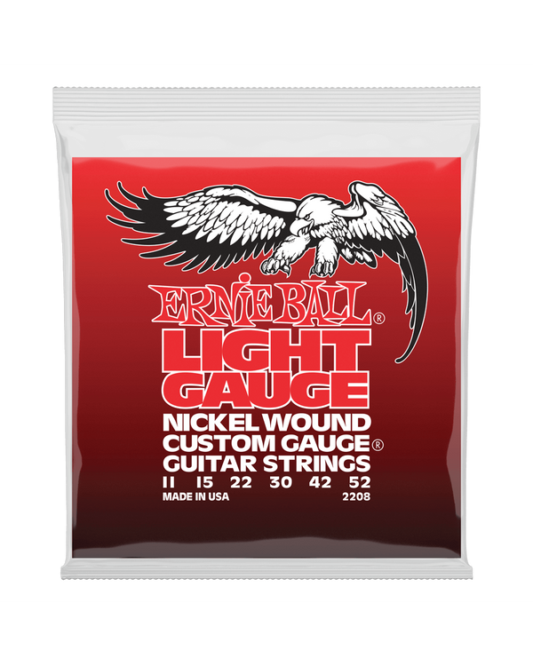 Ernie Ball 2208 Nickel Roundwound with Wound G Nickel Light Gauge Electric Guitar Strings