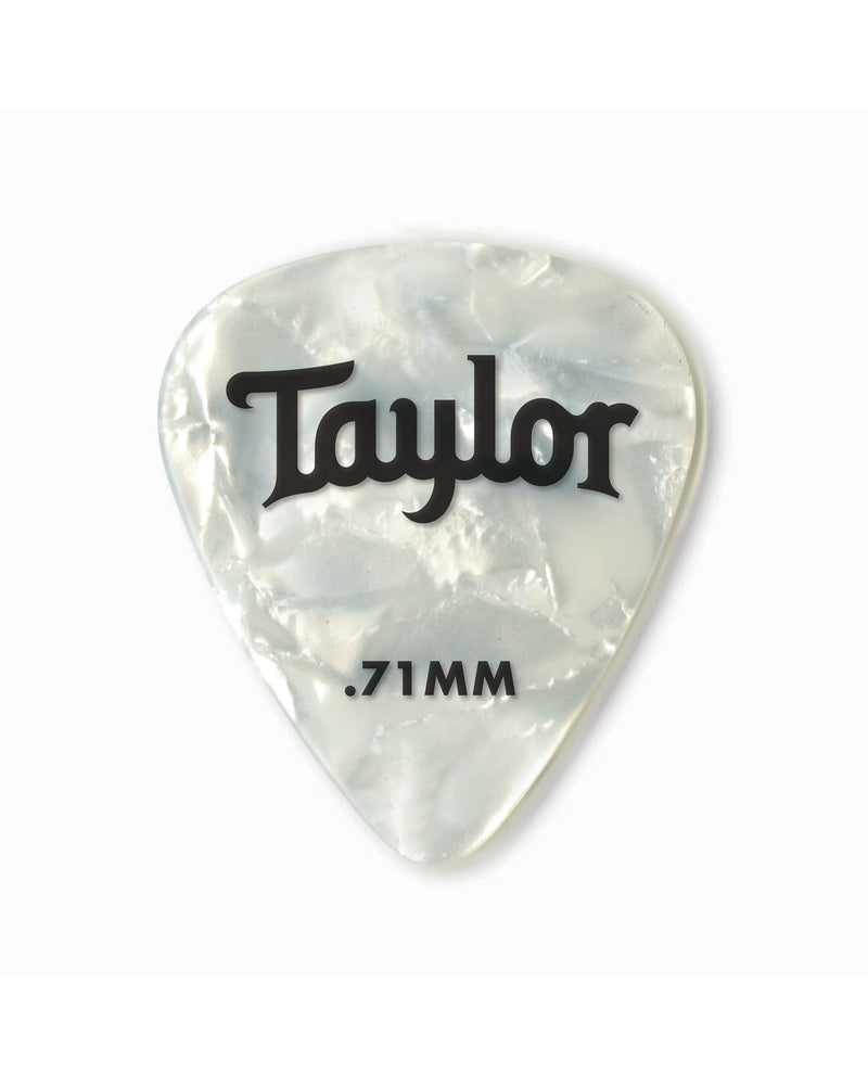 Taylor Celluloid 351 Picks, White Pearl, .71mm, 12-Pack