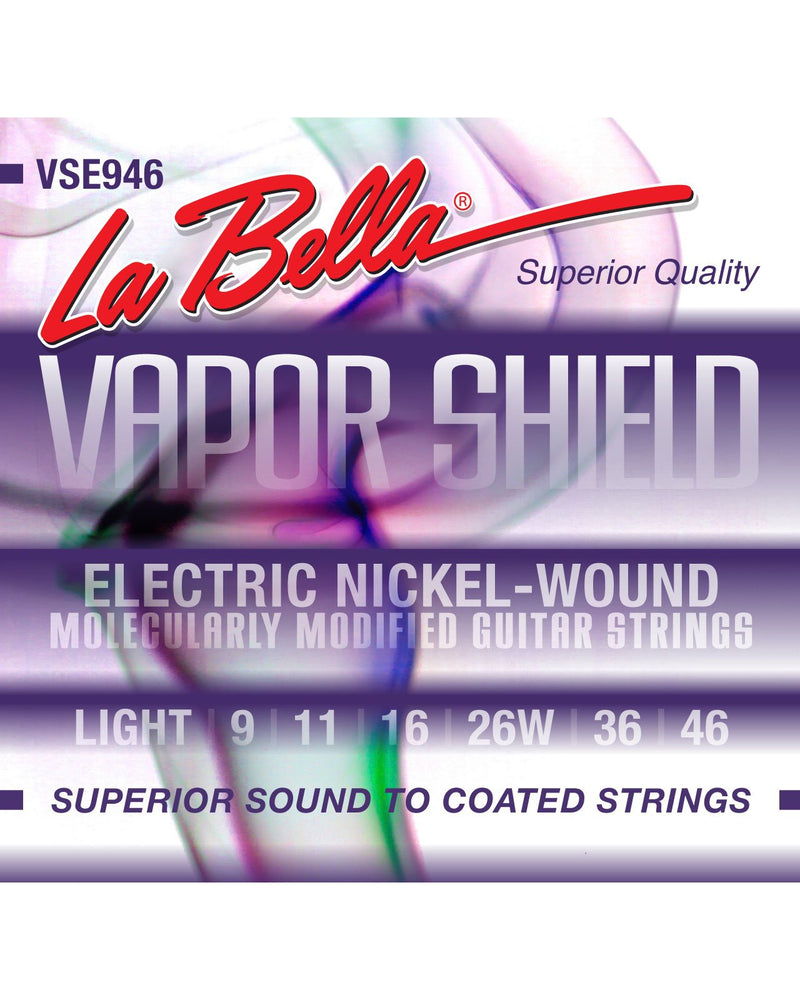 La Bella VSE946 Vapor Shield Nickel Plated Round Wound Light Gauge Electric Guitar Strings
