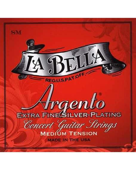 La Bella Argento SM Medium Tension Extra Fine Silver-Plated Classical Guitar Strings