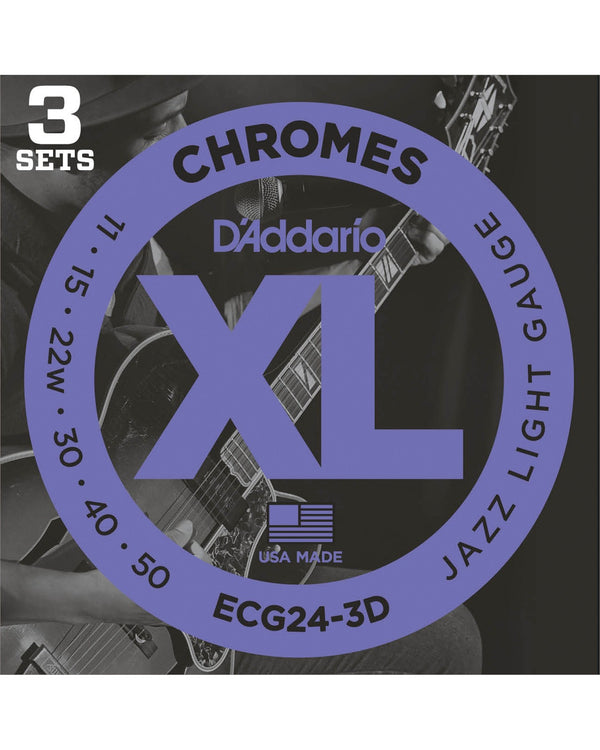 D'Addario ECG24 Flat Wound XL Chromes Jazz Light Gauge Electric Guitar Strings, Three Pack
