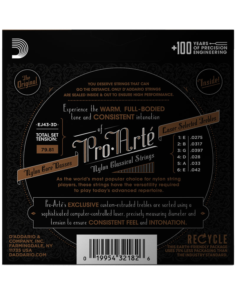 D'Addario EJ43-3D Clear Nylon Guitar Strings, 3-Pack