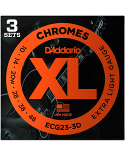 D'Addario ECG23 Flat Wound XL Chromes Jazz Extra Light Gauge Electric Guitar Strings, 3-Pack