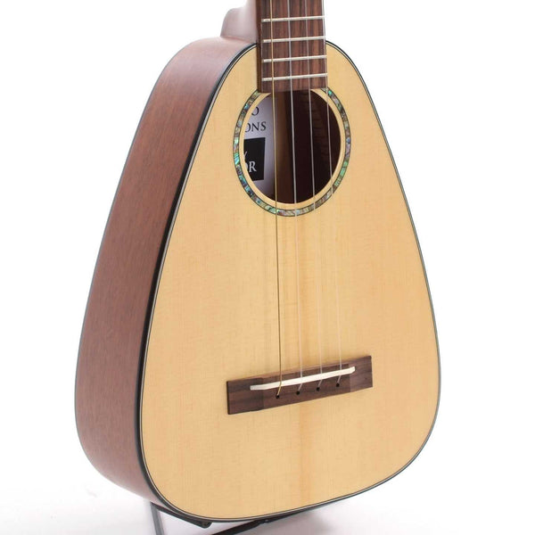 ROMERO CREATIONS SHOPWORN TINY TENOR UKULELE, SOLID SPRUCE TOP AND MAHOGANY BACK AND SIDES, WITH SO