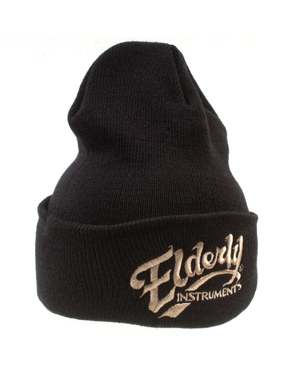 Elderly Instruments Knit Stocking Cap, Black with Tan Logo