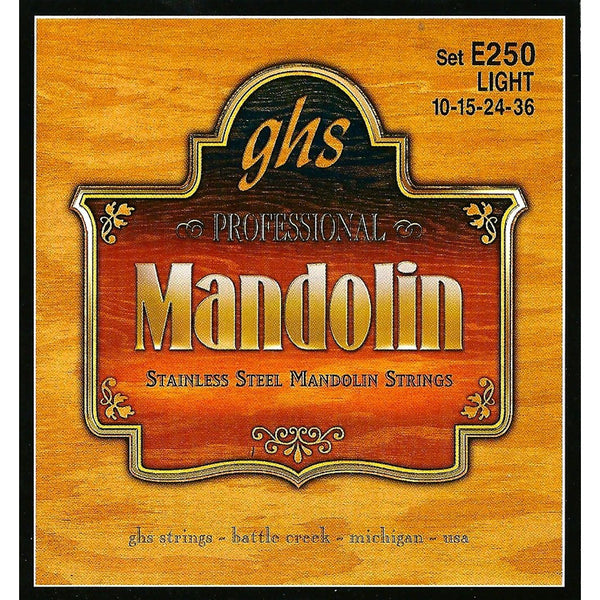 GHS E250 Stainless Steel Light Gauge Acoustic/Electric Mandolin Strings
