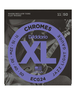 D'Addario ECG24 Flat Wound XL Chromes Jazz Light Gauge Electric Guitar Strings