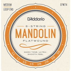 D'Addario EFW74 Flatwound Stainless Steel Medium Gauge Mandolin Strings