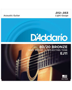 D'Addario EJ11 80/20 Bronze Light Gauge Acoustic Guitar Strings