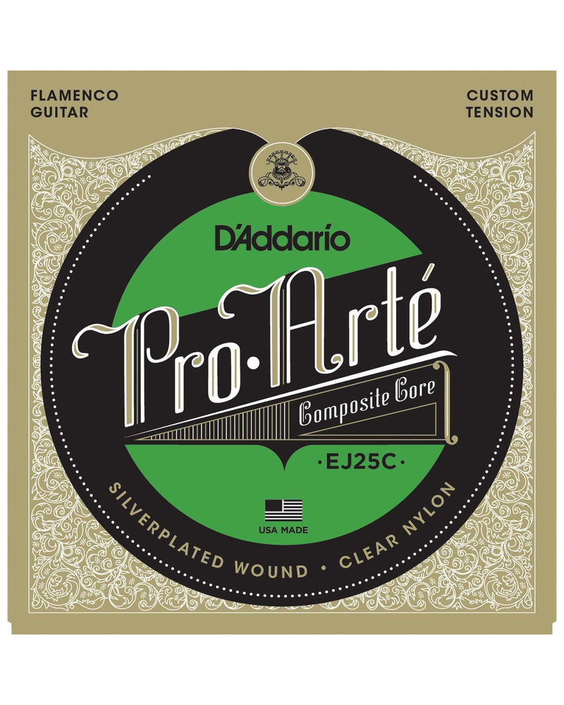 D'Addario EJ25C Pro-Arte Silverplated Wound Clear Nylon Custom Tension Flamenco Guitar Strings