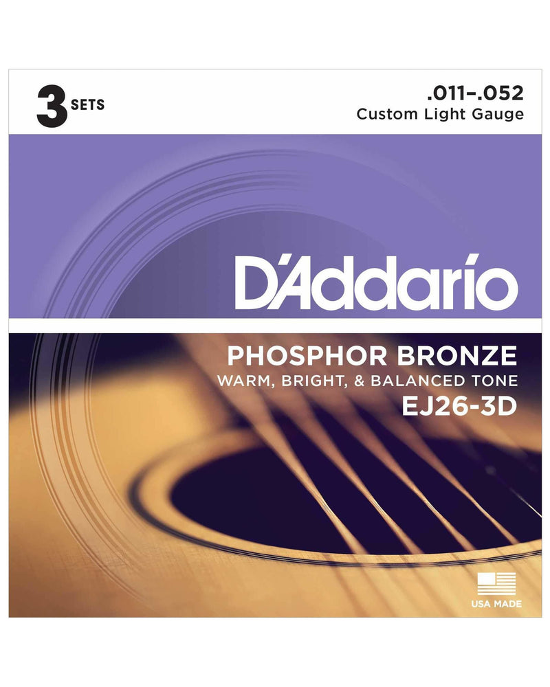 D'Addario EJ26-3D Phosphor Bronze Custom Light Gauge Acoustic Guitar Strings, Three Pack