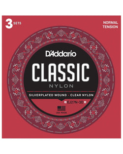 D'Addario EJ27N Silverplated Wound Clear Nylon Normal Tension Classical Guitar Strings, Three Pack