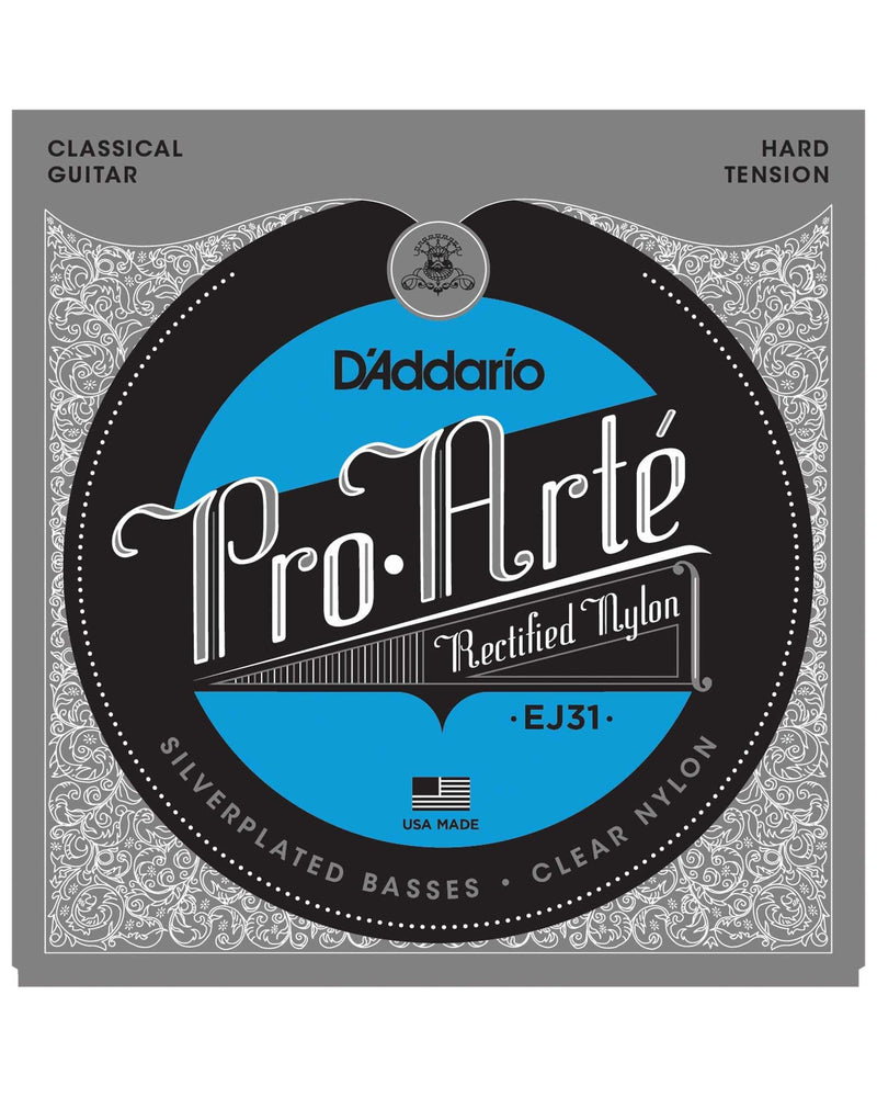 D'Addario EJ31 Pro-Arte Silverplated Basses Clear Nylon Hard Tension Classical Guitar Strings