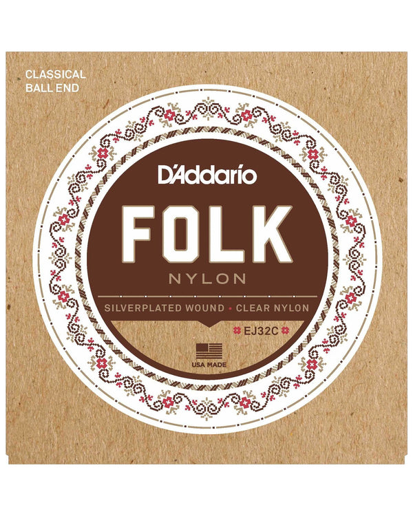 D'Addario EJ32C Silverplated Wound Clear Nylon Folk Classical Guitar Strings