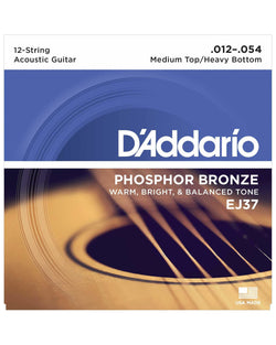 D'Addario EJ37 Phosphor Bronze Medium Top / Heavy Bottom 12-String Acoustic Guitar Strings
