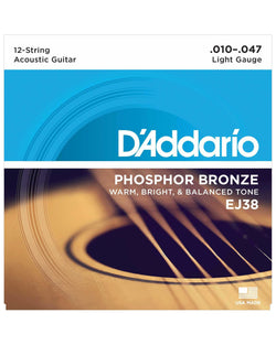 D'Addario EJ38 Phosphor Bronze Light Gauge 12-String Acoustic Guitar Set
