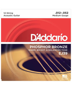 D'Addario EJ39 Phosphor Bronze Medium Gauge 12-String Acoustic Guitar Strings