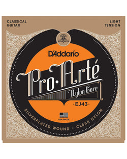 D'Addario EJ43 Pro-Arte Silverplated Wound Clear Nylon Light Tension Classical Guitar Strings