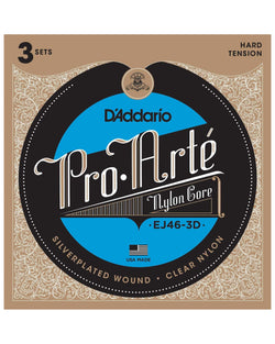 D'Addario EJ46-3D Clear Nylon Guitar Strings, 3-Pack