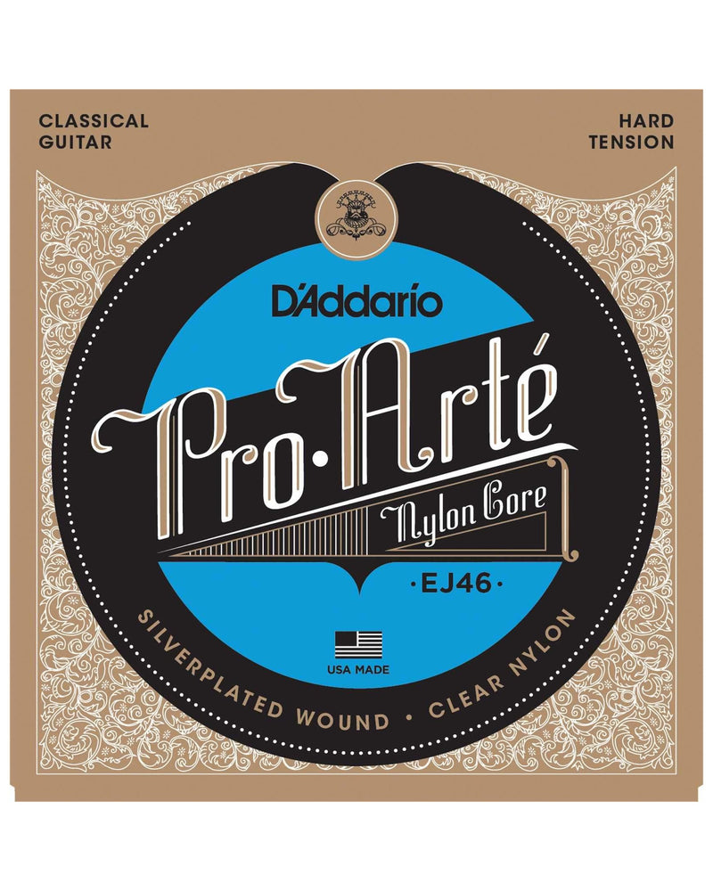D'Addario EJ46 Pro-Arte Nylon Core Silverplated Wound Clear Nylon Hard Tension Guitar Strings