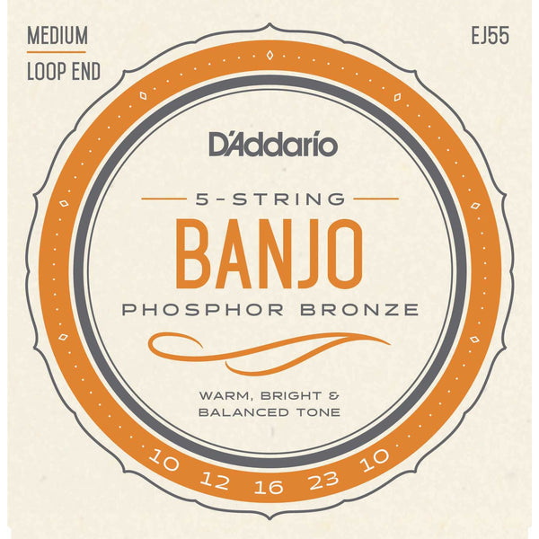 D'Addario EJ55 Phosphor Bronze Medium Gauge 5-String Banjo Strings