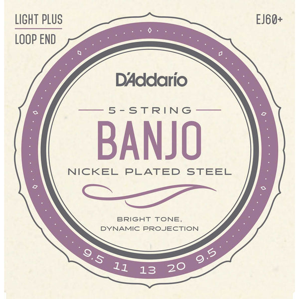 D'Addario EJ60+ Nickel Plated Steel Light Plus Gauge 5-String Banjo Strings