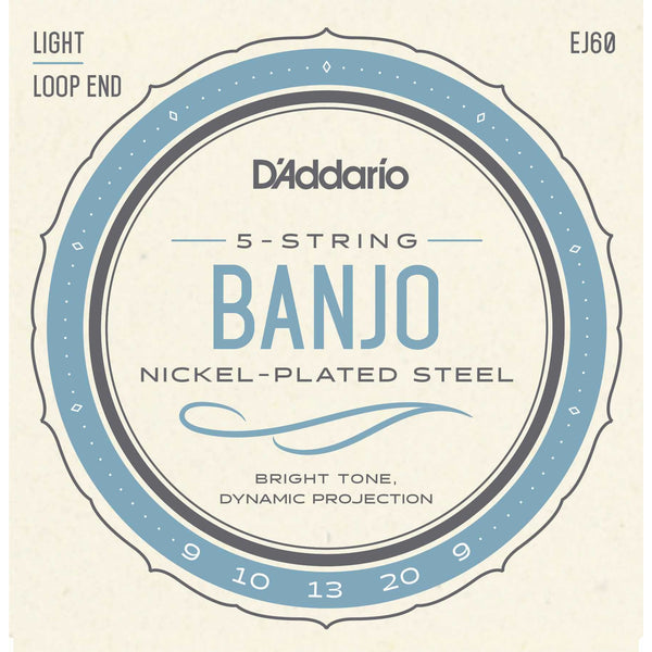 D'Addario EJ60 Nickel Plated Steel Light Gauge 5-String Banjo Strings