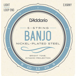 D'Addario EJ60NY Nickel Plated Steel Light Gauge Loop End 5-String Banjo Strings