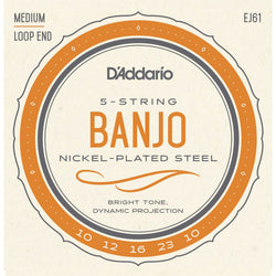 D'Addario EJ61 Nickel Plated Steel Medium Gauge 5-String Banjo Strings