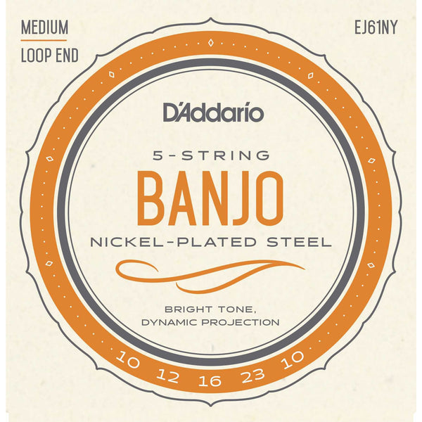 D'Addario EJ61NY Nickel Plated Steel Medium Gauge Loop End 5-String Banjo Strings