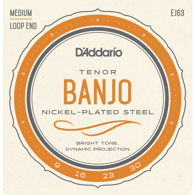 D'Addario EJ63 Nickel Plated Steel Medium Gauge 4-String Tenor Banjo Strings