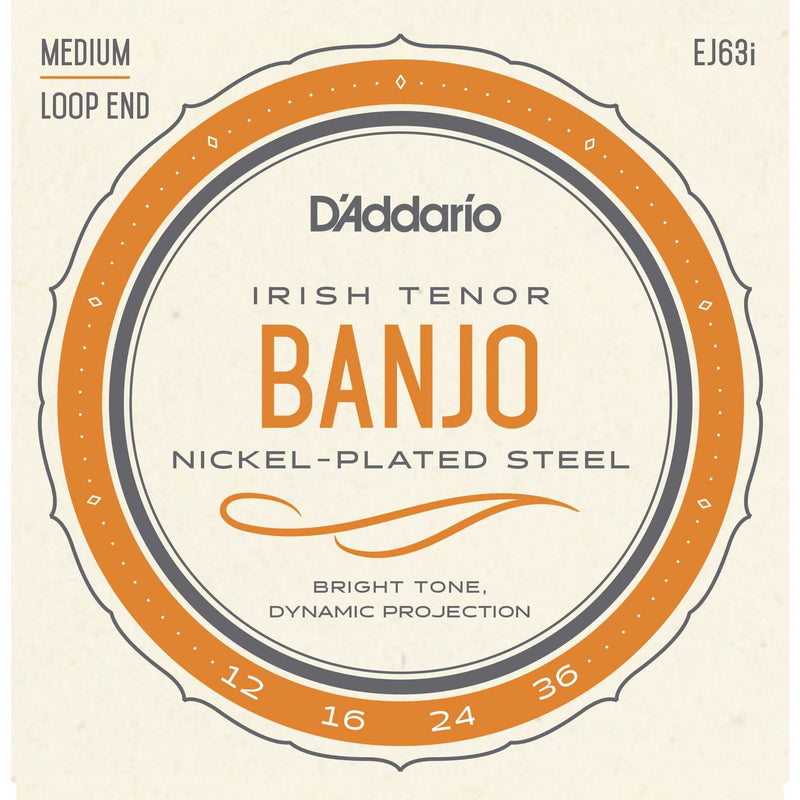 D'Addario EJ63I Nickel Plated Steel Medium Gauge 4-String Irish Tenor Banjo Strings