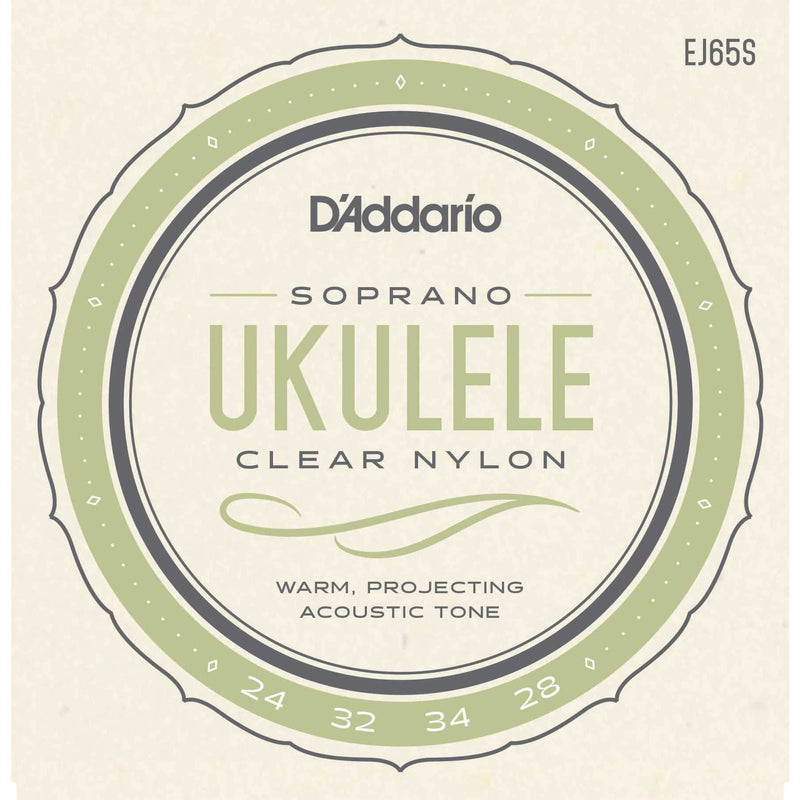 D'Addario EJ65S Pro-Arte Custom Extruded Clear Nylon Soprano Ukulele Strings
