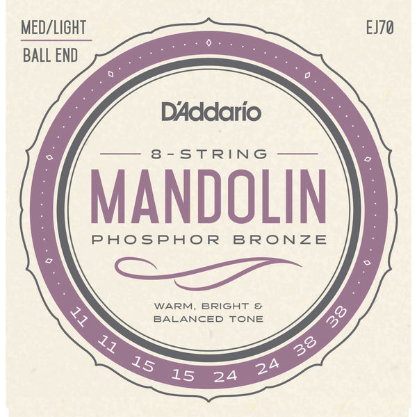 D'Addario EJ70 Phosphor Bronze Medium / Light Gauge Ball End Mandolin Strings