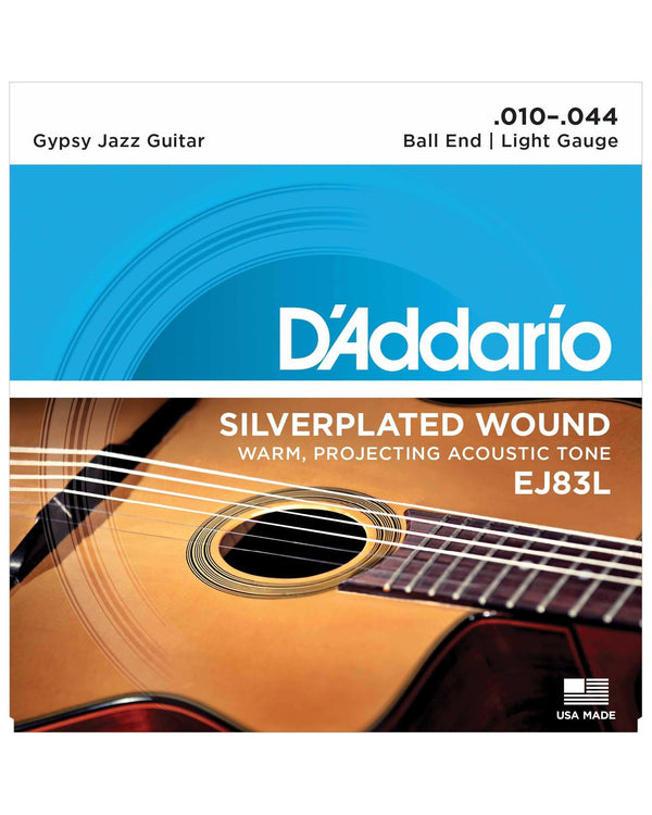 D'Addario EJ83L Silverplated Wound Light Gauge Ball End Gypsy Jazz Guitar Strings