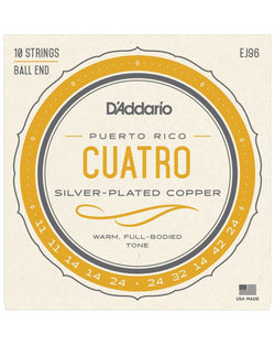 D'Addario EJ96 Silver-Plated Copper Puerto Rico Cuatro Strings