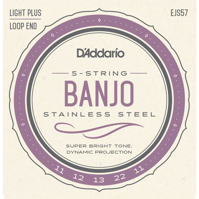 D'Addario EJS57 Stainless Steel Custom Medium Gauge 5-String Banjo Strings