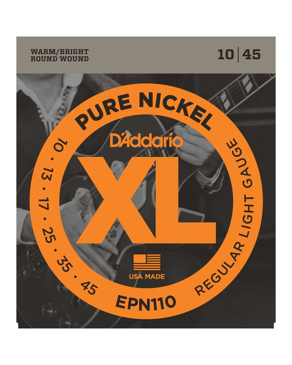 D'Addario EPN110 Round Wound XL Pure Nickel Light Gauge Electric Guitar Strings