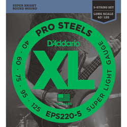 D'Addario EPS220-5 Round Wound XL Pro Steels 5-String Super Light Gauge Electric Bass Strings