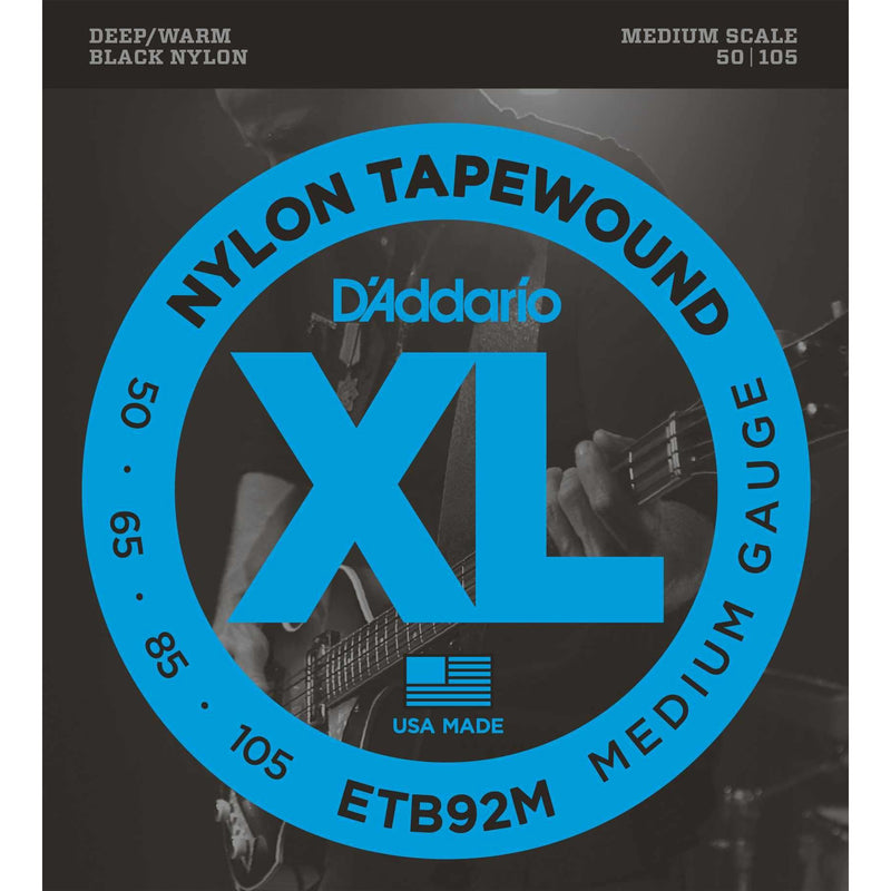D'Addario ETB92M Black Nylon Tapewound Medium Gauge Electric Bass Strings, Medium Scale