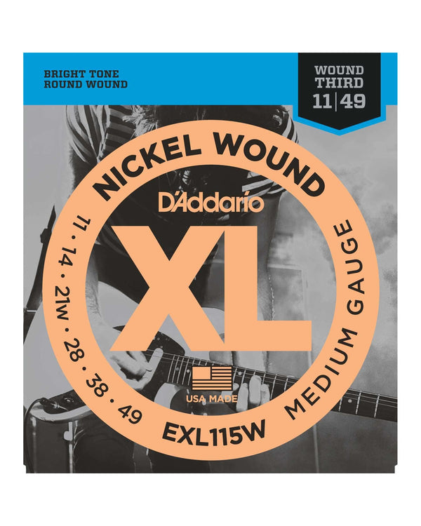 D'Addario EXL115W XL Nickel Round Wound Medium Gauge Electric Guitar Strings (Wound 3rd)