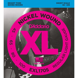 D'Addario EXL170S XL Nickel Round Wound Short Scale Light Gauge Electric Bass Strings