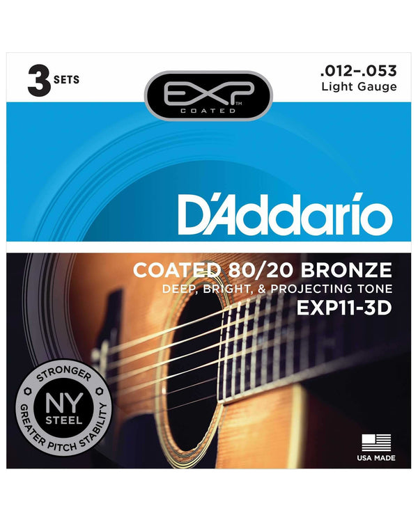 D'Addario EXP11 Exp Coated 80/20 Bronze Light Gauge Acoustic Guitar Strings, Three Pack