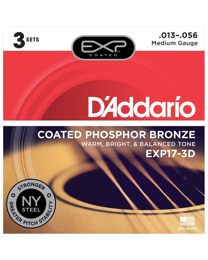 D'Addario EXP17 Exp Coated Phosphor Bronze Medium Gauge Acoustic Guitar Strings, Three Pack