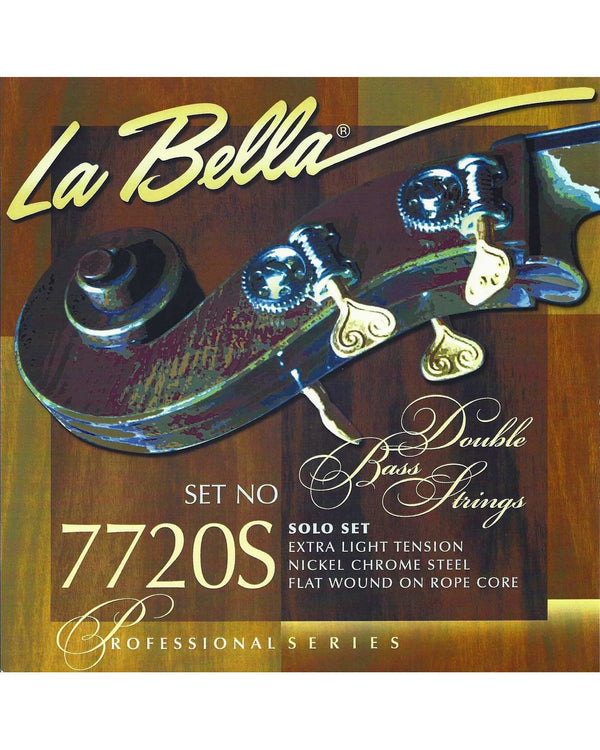 La Bella 7720s Professional Series Nickel Chrome Steel Flat Wound On Rope Core Upright Bass Strings