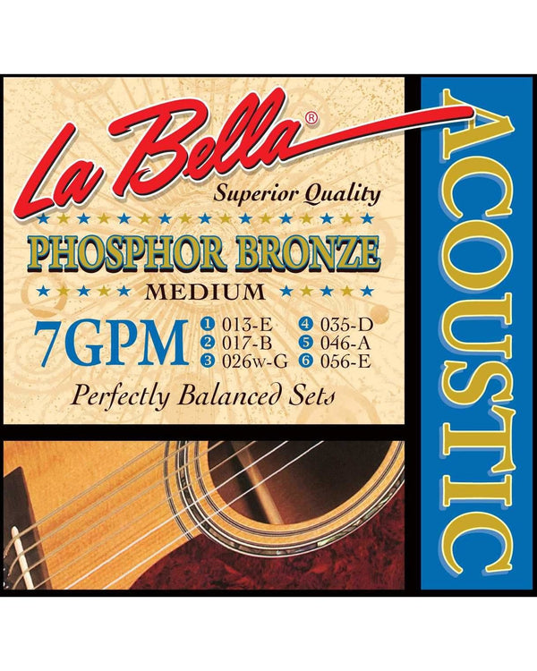 La Bella 7GPM Phosphor Bronze Medium Gauge Acoustic Guitar Strings