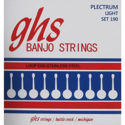GHS 190 Stainless Steel Loop End Light Gauge 4-String Plectrum Banjo Strings
