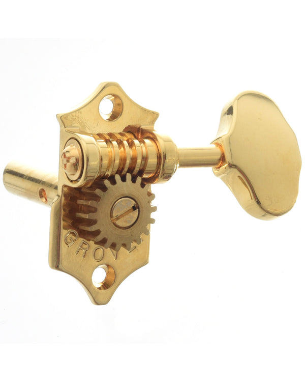 "Grover ""Vintage"" Gold Sta-Tites in 18:1 Ratio Tuners for Slotted Headstocks (Set of 6, 3-On-A-Side)"
