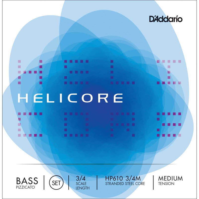 D'Addario Helicore HP610 3/4 Scale Medium Tension Stranded Steel Core Pizzicato Bass Strings
